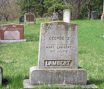 GEORGE J. BELOVED HUSBAND OF MARY LAMBERT 1875 - 1952 LAMBERT