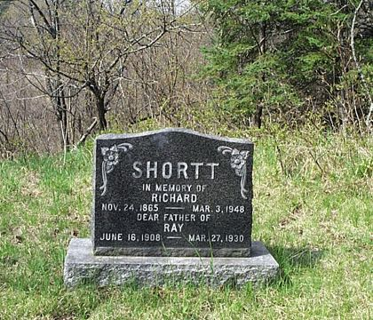 SHORTT IN MEMORY OF RICHARD NOV. 24, 1865 - MAR. 3, 1948 DEAR FATHER OF RAY JUNE 16, 1908 - MAR. 27, 1930