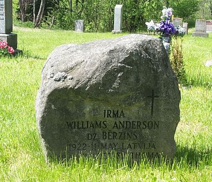 IRMA WILLIAMS ANDERSON DZ. BERZINS 1922 11 MAY LATVIJA 1984 28 OCT. ST. THOMAS